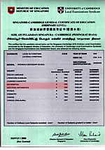 Christiana's O-Level Certificate